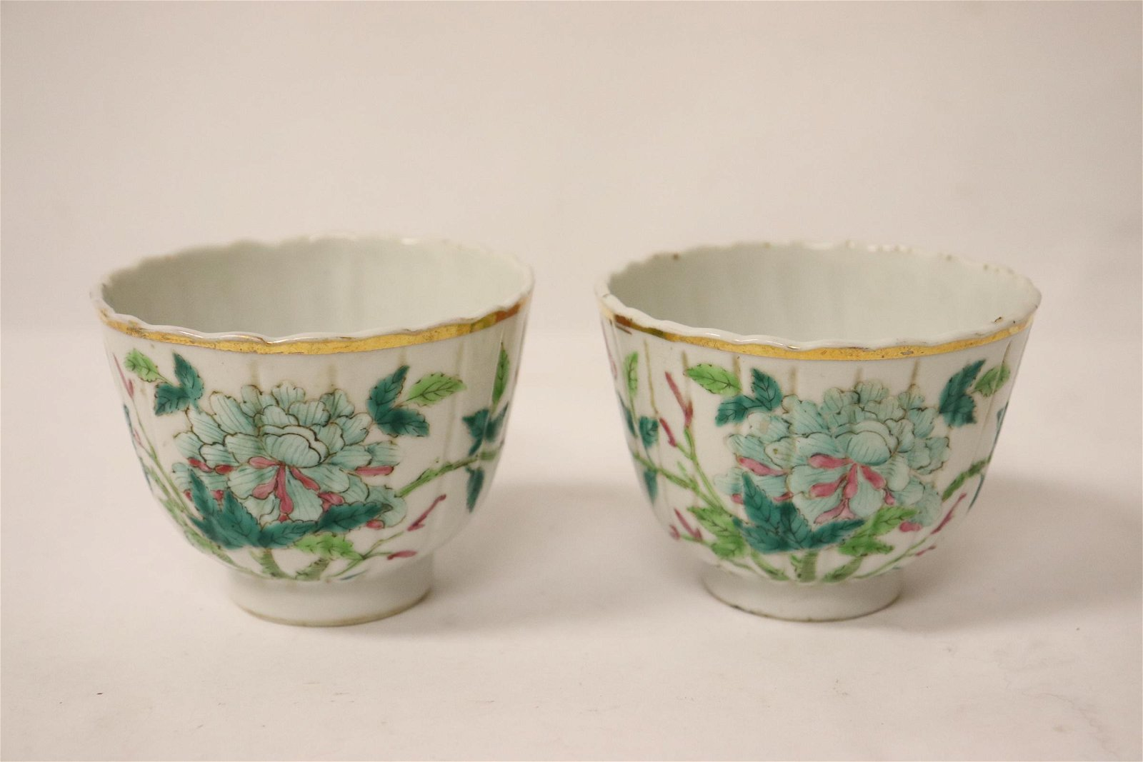 Pair Chinese vintage famille rose porcelain tea cups