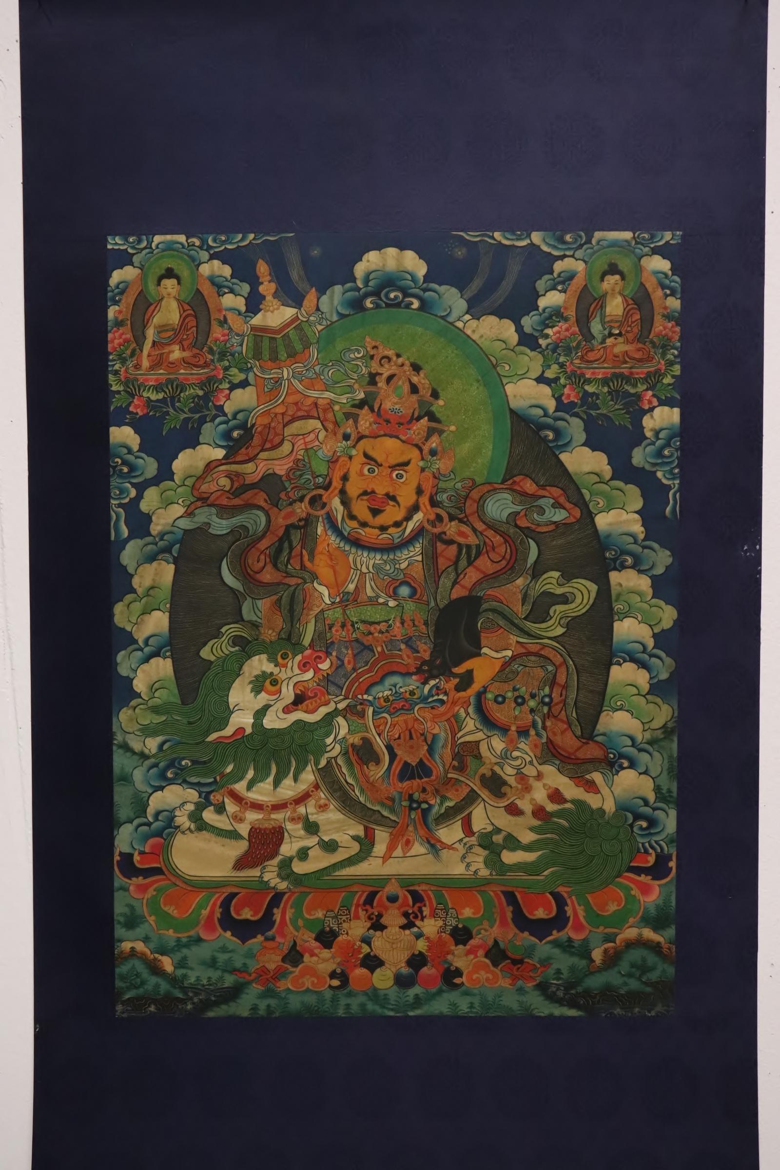 A fine Tibetan hand painted thangka