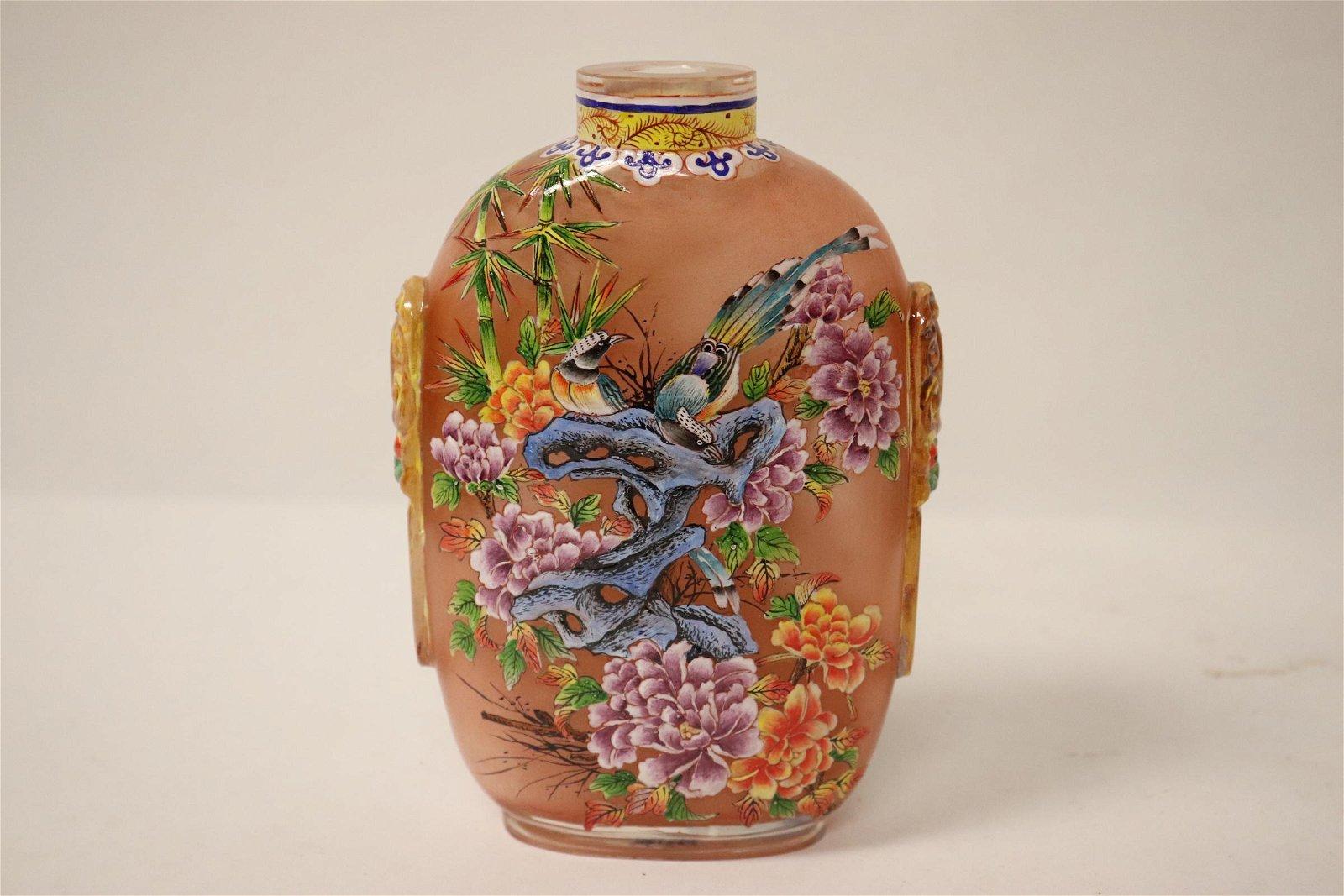 A large enamel on Peking glass snuff bottle