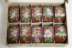 10 Chinese cloisonne napkin rings