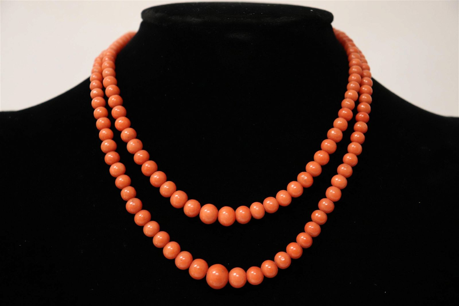 antique double strand coral bead necklace