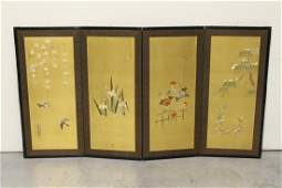 Chinese vintage embroidery room divider signed