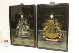 Pair Chinese rosewood framed reverse painted panels