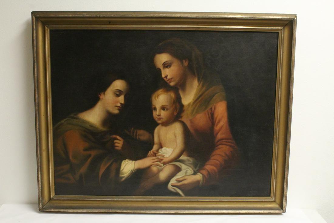 antique oil on canvas painting, signed Garofalo