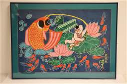 """Chinese framed watercolor """"child with fish"""""""
