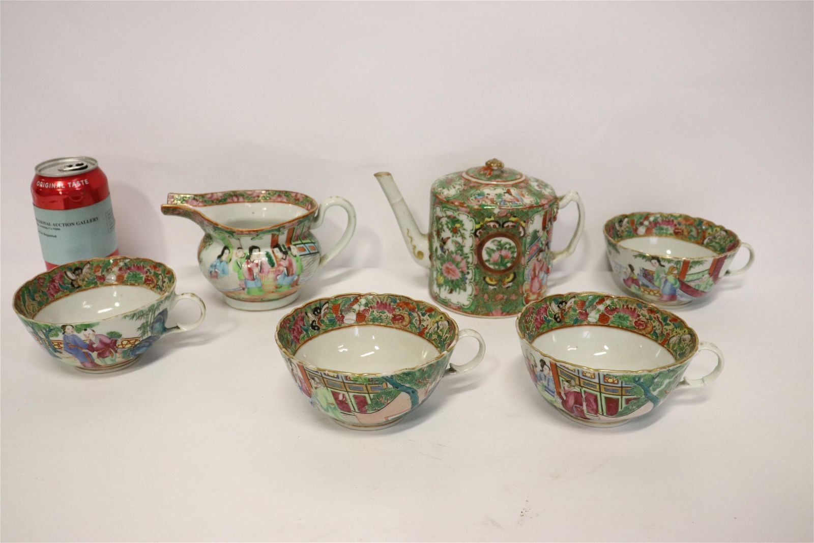 6 piece antique rose canton tea set