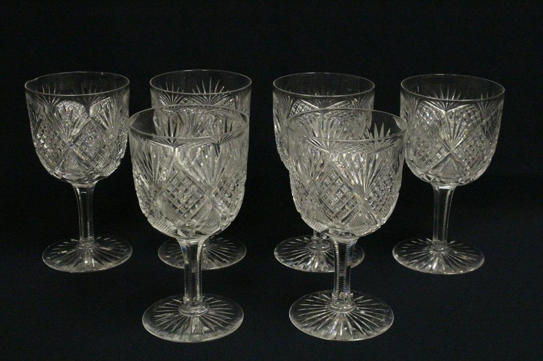 6 cut crystal goblets by St. Louis in pineapple pattern