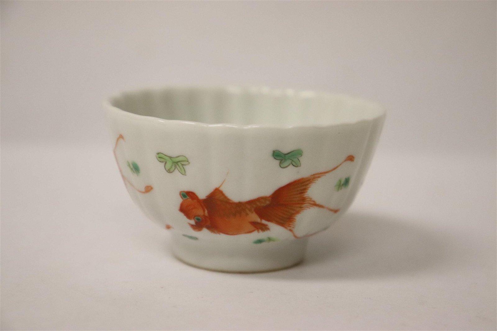 A wucai porcelain tea cup
