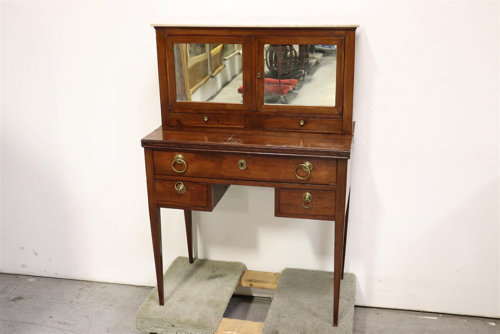 Antique French mahogany folding top desk/ cabinet
