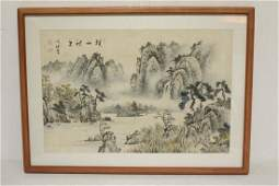 "Korean watercolor on rice paper ""landscape w/ lake"""