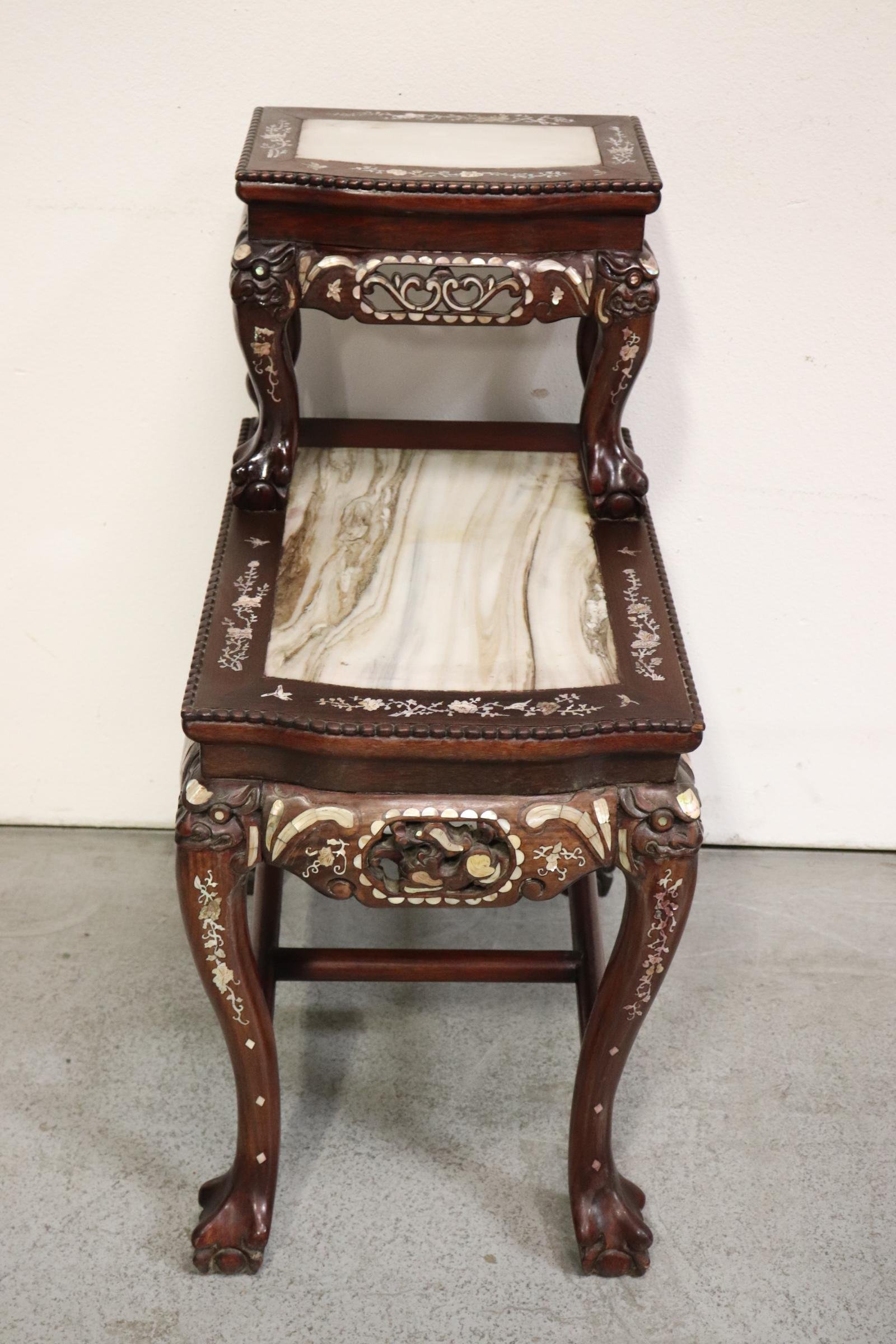 Chinese vintage 2-tier marble top rosewood side table