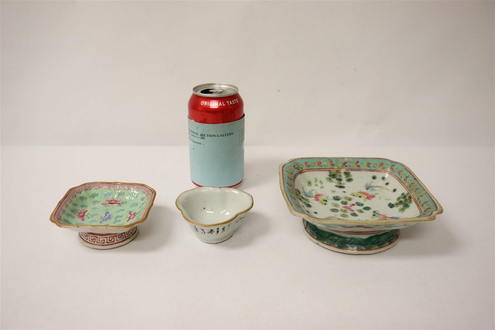 3 piece Chinese antique famille rose porcelain
