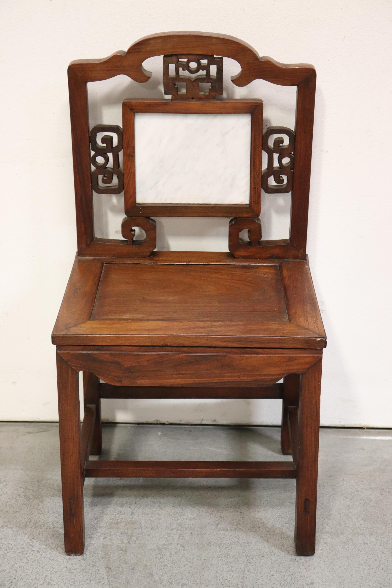 Chinese vintage rosewood chair with marble plaque