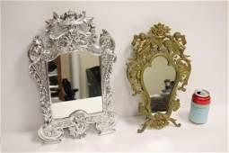 A gilt table mirror  a silver color metal mirror