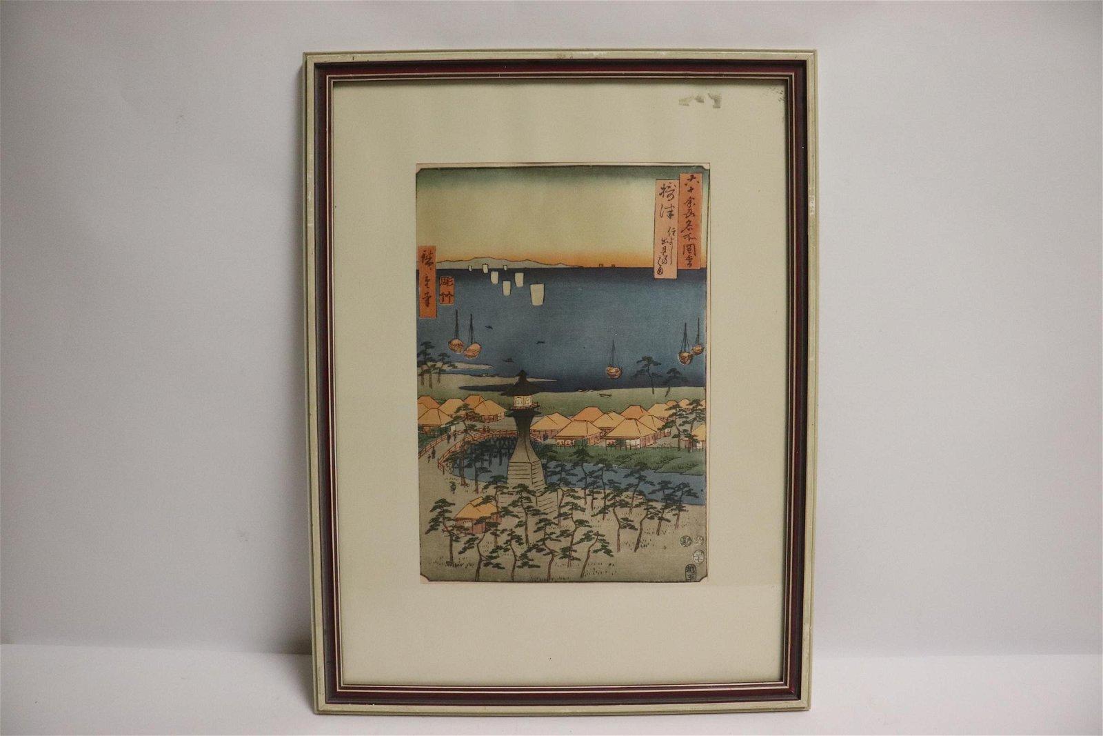 Framed vintage Japanese w/b print by Hiroshige