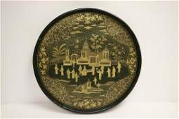 Antique Chinese large lacquer tray