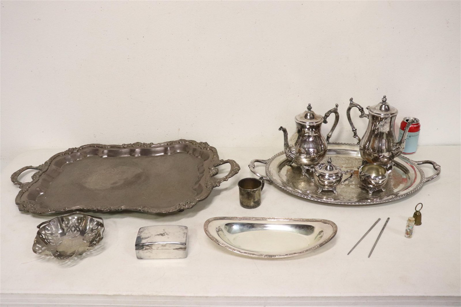 s/p tea and coffee set w/ tray, a lg serving tray &