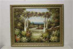 Large oil on canvas painting with fine gilt frame