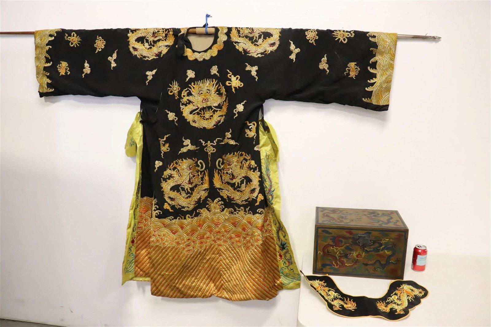 Chinese opera performer robe in storage box