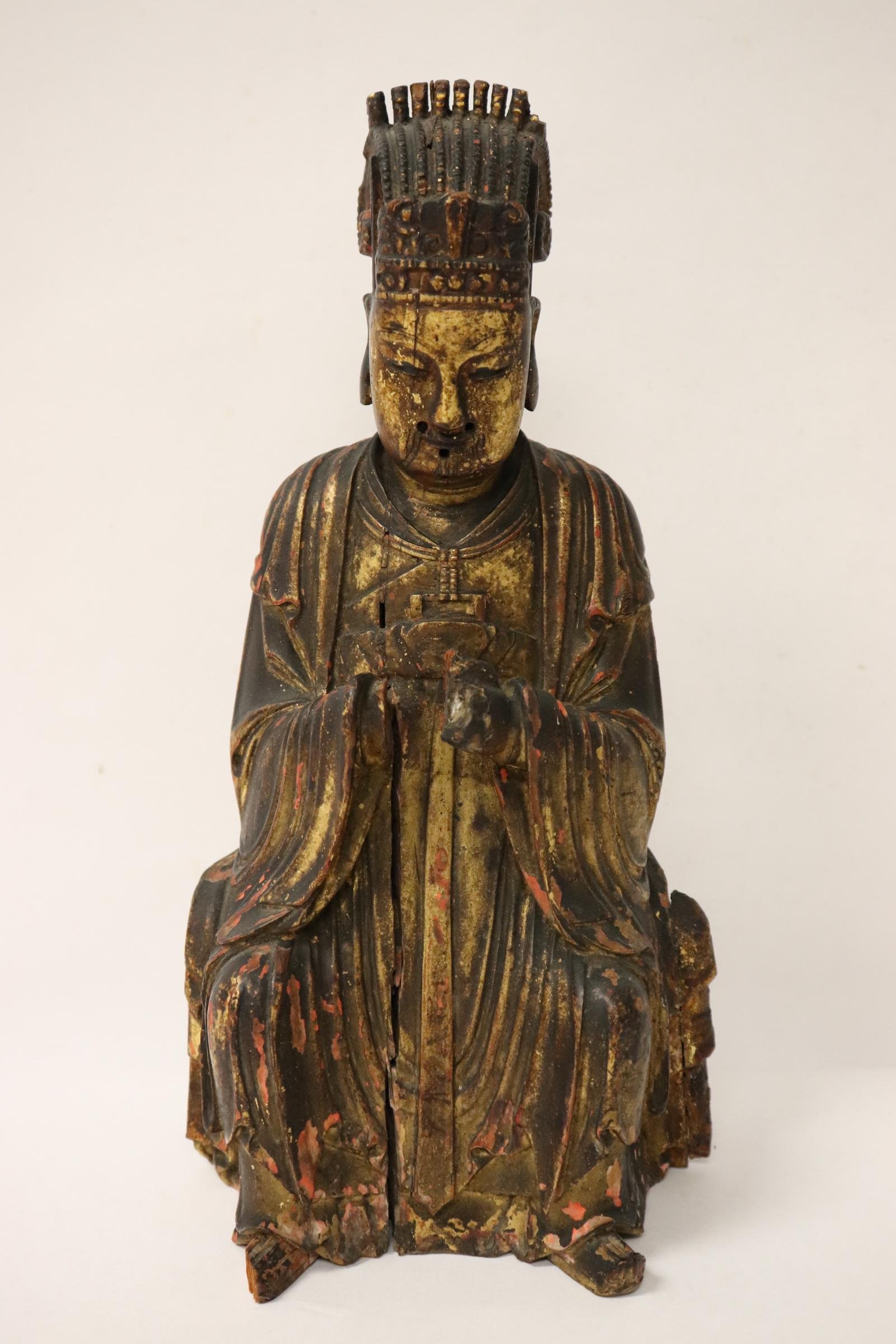 Chinese antique gilt wood carved deity