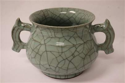important Chinese antique lg crackleware handled censer
