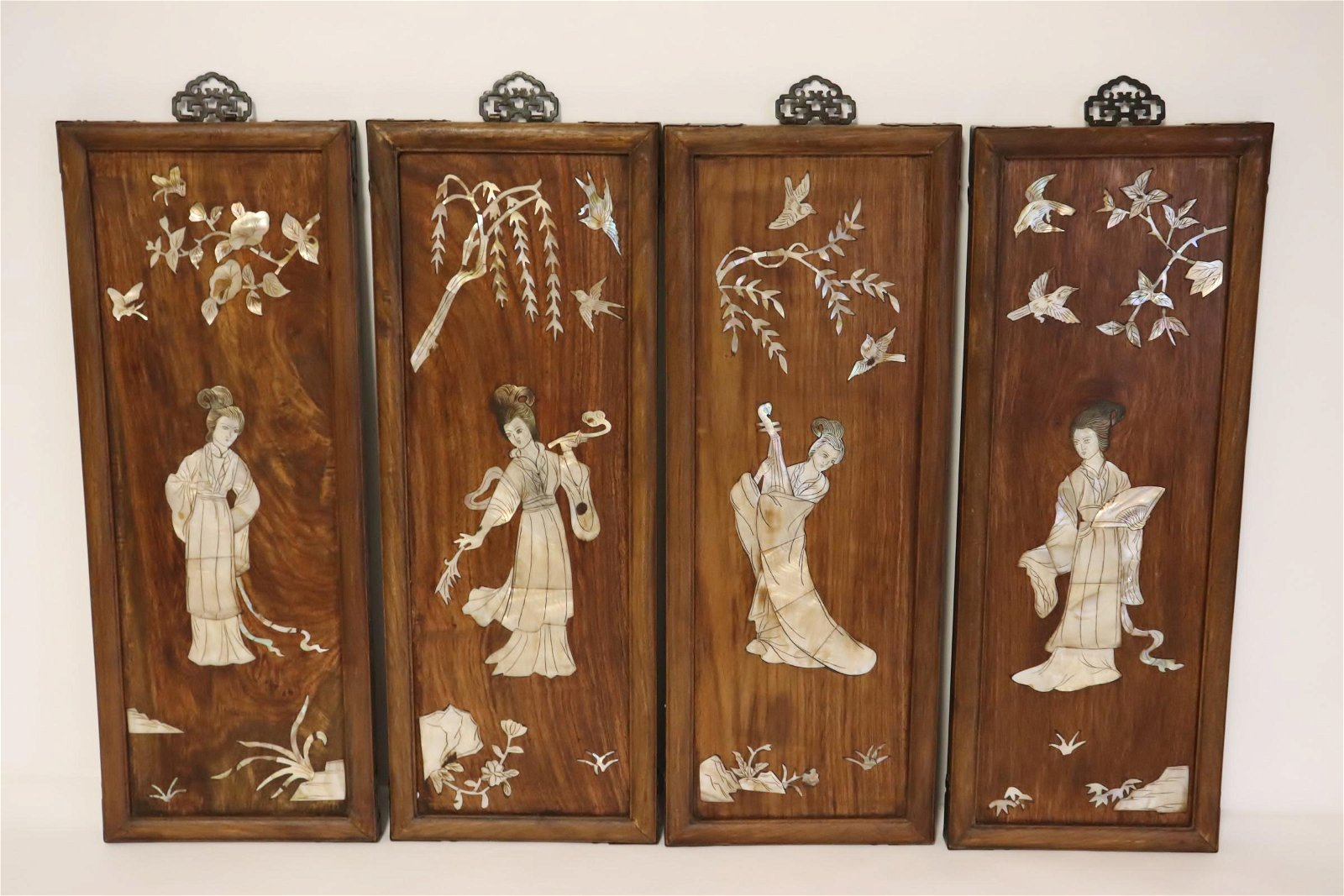 4 Chinese vintage rosewood panels w/ MOP inlaid