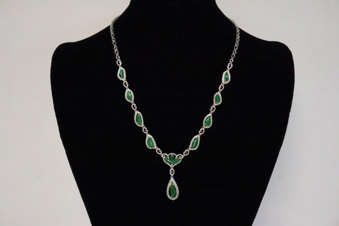 18k W/G jadeite necklace w/ GIA certificate
