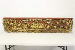 Chinese antique lg painted and gilt wood panel