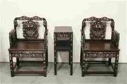 3 pc antique rosewood furniture w/ MOP inlaid