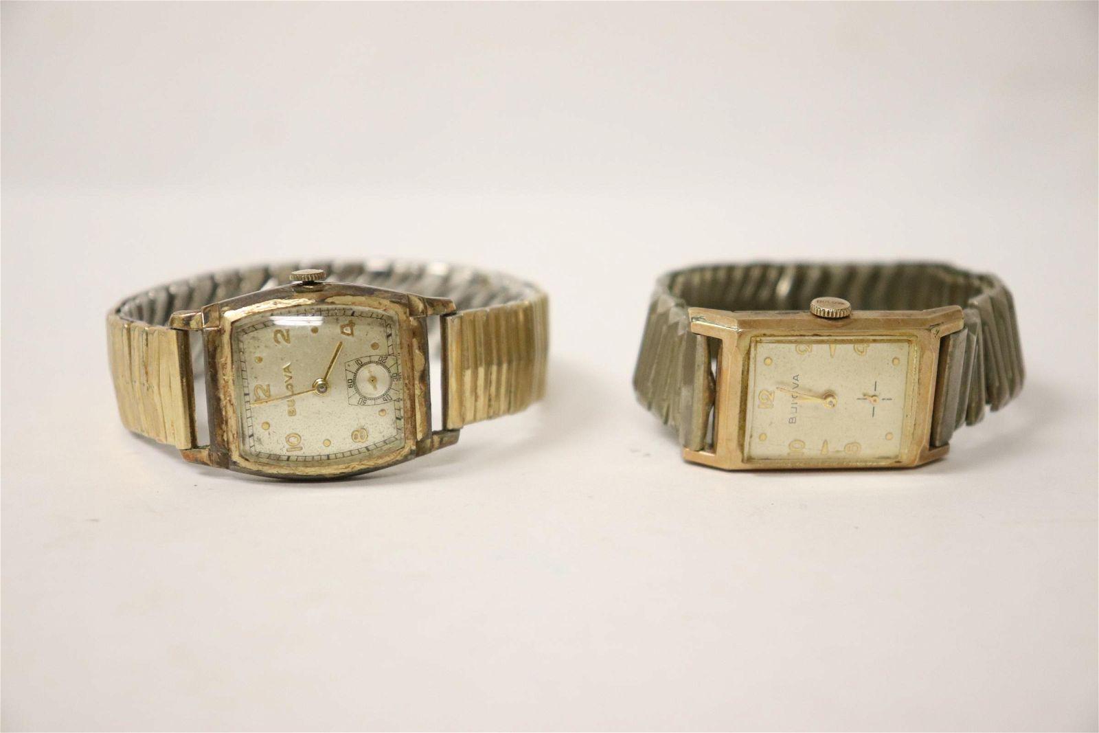 2 vintage bulova wrist watches