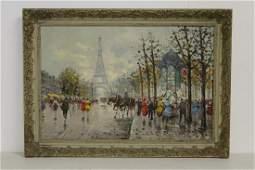 Oil on canvas depicting Paris street scene