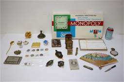 Lot of miniature items, and a vintage board game