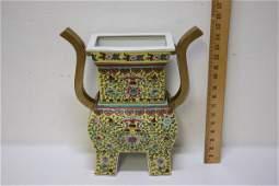 Large Chinese famille rose porcelain censer