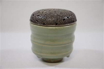 Chinese antique celadon censer with silver top