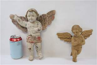 2 wood carved wall hanging angels