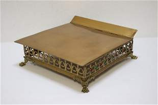 antique gilt brass bible stand with jewels