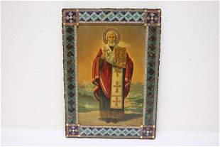 Antique religious painting with Mosaic style border