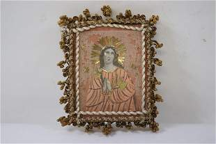 antique religious painting decorated with gold foils