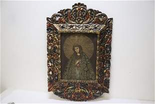 Fine religious painting with ornate frame