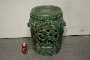 Chinese vintage green glazed pottery garden stool