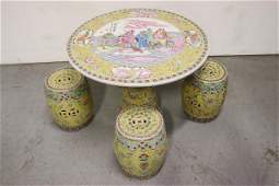 Chinese 5 piece famille rose porcelain table set
