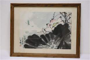 """Framed Chinese watercolor """"water flowers"""""""