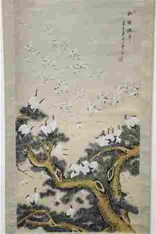 """Chinese watercolor on silk scroll """"one hundred cranes"""""""