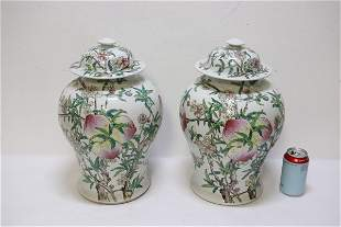 Pair Chinese famille rose porcelain covered jars