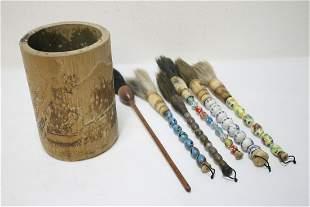 Chinese bamboo brush holder w/ 6 brushes