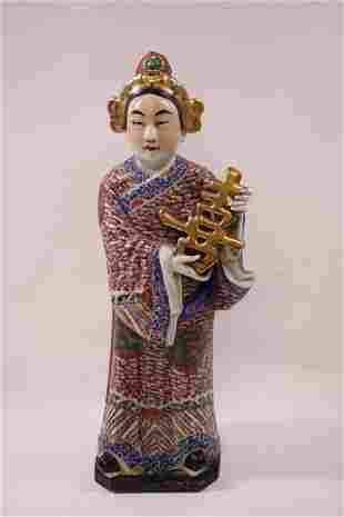 Chinese antique famille rose porcelain figure