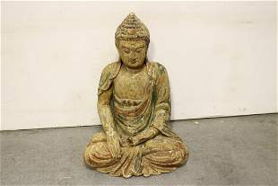 Chinese antique large wood carved deity