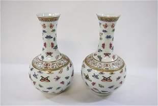 Pair Chinese19th/20th c. porcelain bottle vase