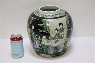 Fine Chinese antique famille noire porcelain jar