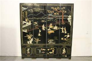 Chinese 4-panel room divider overlay with stone